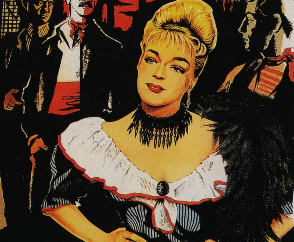 Simone Signoret portrayed on the poster for Jacques Becker's Casque d'Or