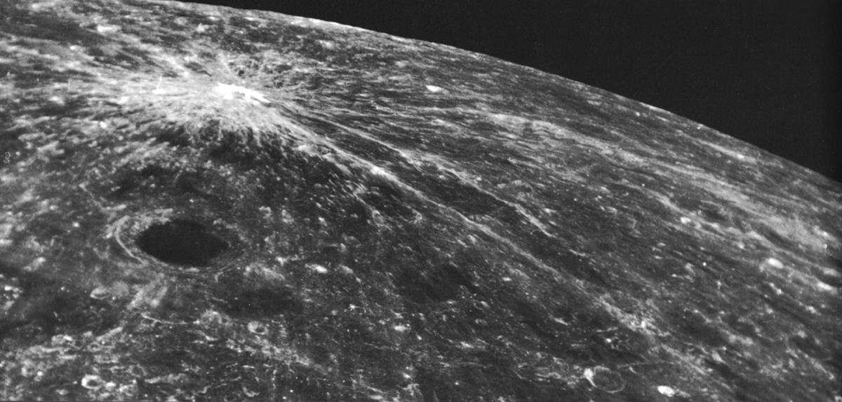 The other side of the Moon, the one never visible from the Earth. On the left the Giordano Bruno crater. Courtesy NASA